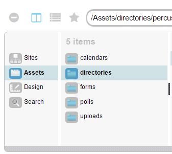 "Screenshot of a main ""directories"" folder under the Assets folder"