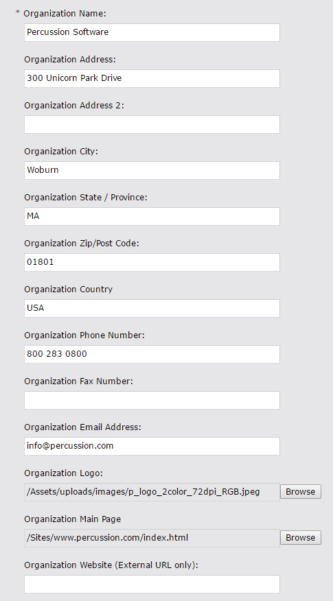 Screenshot of Organization widget content configuration fields