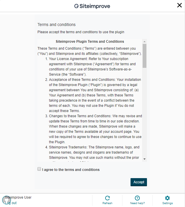 Screenshot of Siteimprove Terms and Conditions