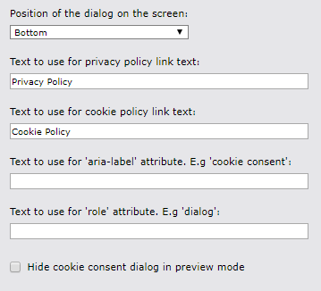 Cookie Consent Layout Properties
