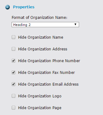 Screenshot of Organization widget Layout configuration options
