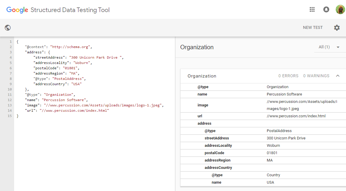 Screenshot of Schema.org markup that the Organization widget generates.