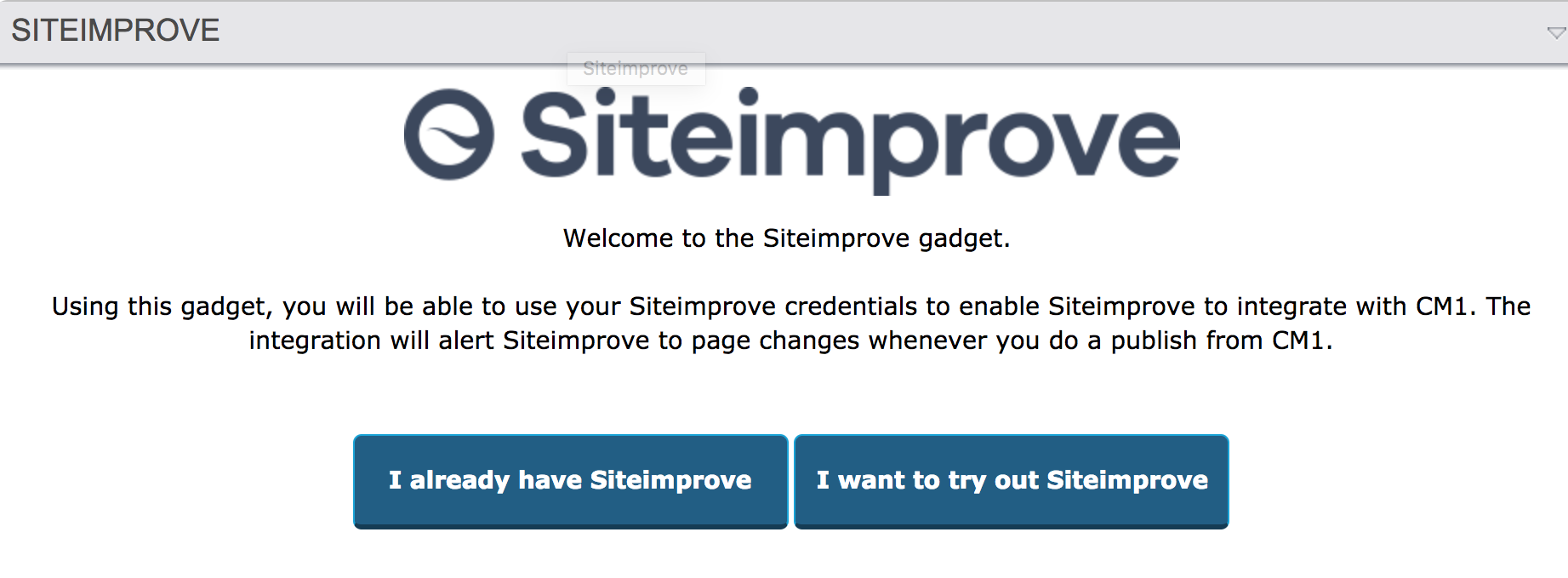 Screenshot of the Siteimprove Gadget