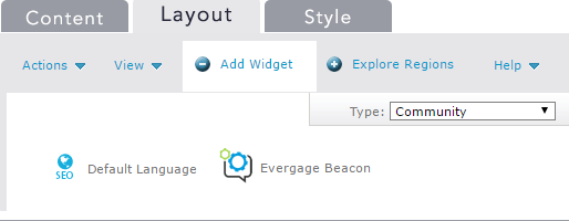 Location of the Evergage Beacon Widget in the Percussion Widget Tray